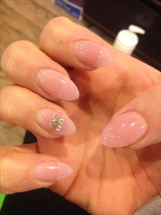 Solar pink sparkly nails with Diamonds
