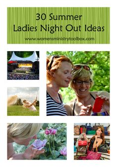 30 Summer Ladies Night Out Ideas - Fabulous and fun ideas for your girlfriends, women's ministry, Sunday school class, small group, etc. From Women's Ministry Toolbox. Christian Women's Ministry, Christian Life, Christian Living, Moms' Night Out, Girls Night Out, Girl Night, Games For Ladies Night, Womens Ministry Events, Lady Games