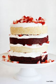 red velvet and vanilla cake with whipped cream frosting!