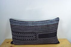 """Vintage Pillow Cover, Hill Tribe Textile Decorative Pillow Handmade Cotton and Hemp Embroidered Eco Friendly 12"""" x 22"""" HCB0091"""