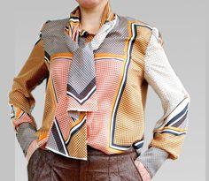 Schluppenblusen - Schluppen Bluse mit Krawattendessin muster. - ein Designerstück von LoFino bei DaWanda