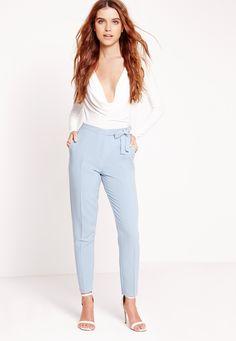 Missguided - Tie Belt High Waist Cigarette Trouser Blue