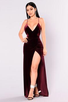 Angelique Velvet Maxi Dress - Dark Burgundy