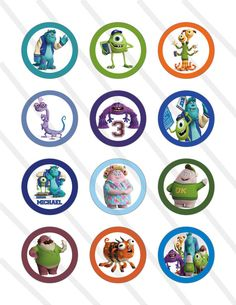 Disney Pixar Monsters University Monsters Inc Birthday Party 2 inch Cupcake Toppers digital Printables Custom Party Favor Circles via Etsy