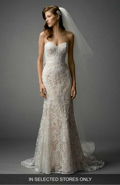 4302f8d50 Main Image - Watters Nyra Embroidered Strapless A-Line Gown Blush Lace  Wedding Dress