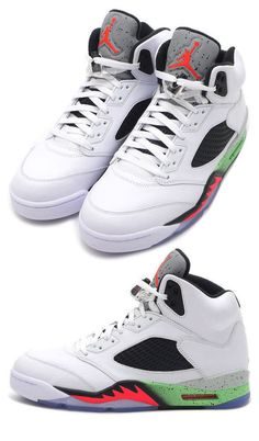 34ac4e790061ed Nike K Air Jordan Retro 5 Kicks White Infrared Green 136027 115 Sz 12 NWB