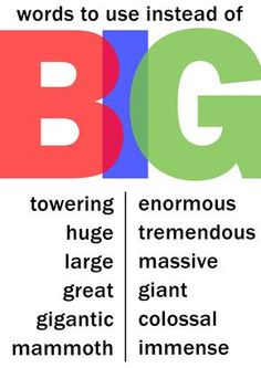 Words to use instead of big Teach English To Kids, English Fun, English Study, English Lessons, English Words, Learn English, Bbc English, English Language Idioms, Language Study