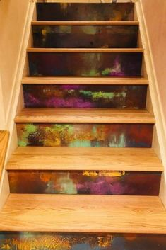 These hand painted custom stair risers are funky with warm, bright colors. They make going up and down the stairs fun! Can be done in a stair riser decals too Painted Stair Risers, Art Restaurant, Office Artwork, Funky Painted Furniture, Basement House, Stairway To Heaven, Cabins In The Woods, Commercial Design, Industrial Chic