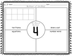 Start your number of the day routine with these simple printables (includes a… 4th Grade Math Worksheets, 1st Grade Math, Second Grade, Teaching First Grade, Teaching Math, Teaching Ideas, Math Classroom, Kindergarten Math, Fun Math