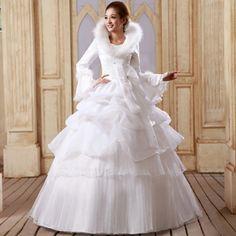 2013 winter new fashion long sleeves wedding bridal dress