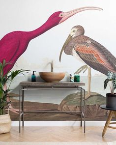 We love this vibrant scarlet ibis wallpaper design, matched so simply with a minimalist vanity unit and basin. 🐦 What a statement. Minimalist Bathroom, Modern Bathroom, Contemporary Design, Modern Design, Bathroom Wallpaper, Wallpaper Murals, Birds Of America, Interior Decorating, Interior Design