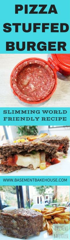 Syn Free Pizza Stuffed Burgers - Slimming World Recipe - Syn Free - Easy - Food Porn - Healthy Extra A - Healthy Extra - HexA<br> A delicious syn free stuffed burger made using a Stuffz Burger Press. Slimming World Dinners, Slimming World Recipes, Slimming Eats, Easy Chicken Recipes, Easy Healthy Recipes, Easy Meals, Hamburger With Egg, Healthy Wraps, Healthy Pizza