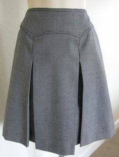 Faige Modcoth Wool Houndstooth Pleated Skirt Work Career Pinup Retro A Line 2 XS | eBay $34.99 www.mystrawberryfox.com