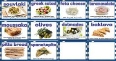 Free printable classroom display posters showing 10 famous Greek foods.  Includes souvlaki, pitta bread, olives, greek salad, moussaka, spanakopita and more.