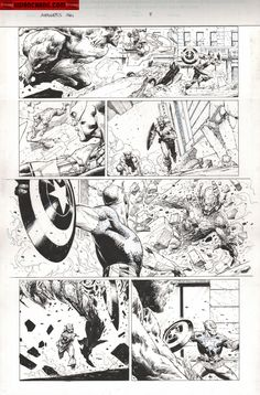 Kwan Chang :: For Sale Artwork :: Avengers : Rage of Ultron by artist Jerome Opena Comic Book Layout, Comic Book Pages, Comic Book Artists, Comic Artist, Comic Books Art, Superhero Characters, Comic Book Characters, Black And White Comics, Manga Illustration