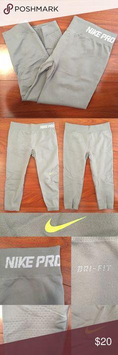 "Dri-Fit Short Leggings Light grey short-knee leggings. No damages of any kind! 25"" full length. No Paypal or Trades Nike Pants"