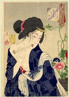 Tsukioka Yoshitoshi, Looking as if She is Waking Up - The Appearance of a Maiden of the Koka Era, c. 1888.
