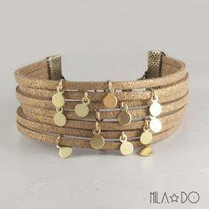 Bracelet Yeli manchette camel et doré : Bracelet par mila-do