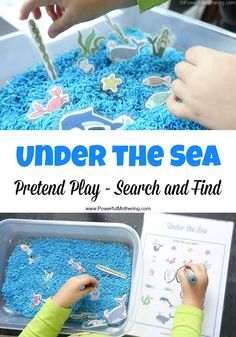 Under the Sea Pretend Play plus Search and Find Great for sensory, imaginative and Under the Sea Pretend Play has the added bonus of Search and Find to learn about things under the sea! Great for older toddlers and preschoolers as part of a theme. Sea Activities, Animal Activities, Therapy Activities, Summer Activities, Preschool Activities, Beach Theme Preschool, Therapy Games, Therapy Ideas, Speech Therapy