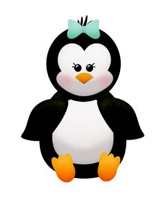 Penguin with bow Winter Clipart, Christmas Clipart, Pinguin Illustration, Window Frame Crafts, Penguin Clipart, Penguin Baby Showers, Penguin Images, Penguin Party, Cute Penguins