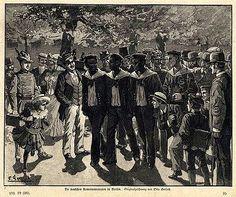 "Wood engraving from 1886, ""The German Cameroon sailors in Berlin"""