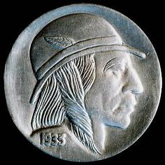 DAVE BOULAY - 1935 BUFFALO NICKEL Hobo Nickel, Buffalo, Classic Style, Auction, Carving, Art, Art Background, Wood Carvings, Kunst