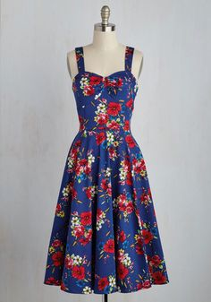 Only Time Will Twirl Dress - Multi, Blue, Floral, Print, Daytime Party, Pinup, Vintage Inspired, 50s, Fit & Flare, Sleeveless, Spring, Woven, Best