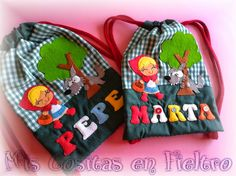 BOLSA DE MERIENDA CAPERUCITA PARA MARTA Y PARA PEPE Little Pigs, Little Red, Red Party, Red Riding Hood, Goodie Bags, Projects For Kids, Kids Boys, Alice In Wonderland, Activities For Kids
