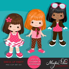 ❘❘❙❙❚❚ 50% OFF ON SALE ❚❚❙❙❘❘ Dress Up Party Clipart A whooping 43 graphics set to create your very own little girl character. Set includes 5 little girl characters in different hair and skin colors, cute pink dresses, leggings, shirts, sun glasses, scarf, shorts, shoes, socks and hair band accessories in various colors shown in the preview. Lots of possibilities to create different little characters. Perfect for invitations, party printables, planners and embroidery. DO NOT RESIZE imag...