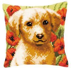 Diy Pillows, Throw Pillows, Cross Stitch Cushion, Printed Cushions, Back Pillow, Cross Stitch Kits, Teddy Bear, Puppies, Prints