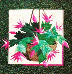 """- Christmas Cactus - Foundation Paper Piecing Pattern - 27"""""""" x 27 1/2"""""""" Quilt - This beautiful Foundation Paper Piecing pattern was designed by Eileen Bahring Sullivan and is a stunning quilt to piece"""