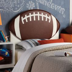 Powell Furniture Upholstered Football Twin Headboard in Brown / White Football Bedding, Football Rooms, Football Bedroom, Kids Football, Kids Sports, White Upholstered Headboard, Bed Frame And Headboard, Headboards For Beds, Headboard Ideas