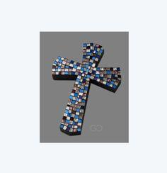 Croce Mosaico Multicolor Vetro argento lilla e di TesserediMosaico