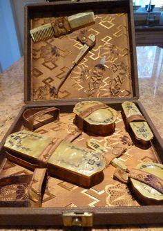 Vintage art deco vanity set. Antique ivory white amber celluloid vanity set