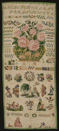 This is a wonderful example of a real sampler, it has been cut down but must have been amazing when whole..... Biedermeier Sampler