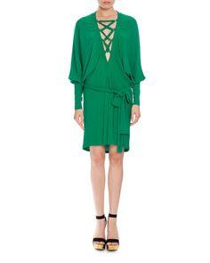BALMAIN LACE-UP BELTED BATWING DRESS, EMERALD GREEN. #balmain #cloth #flats