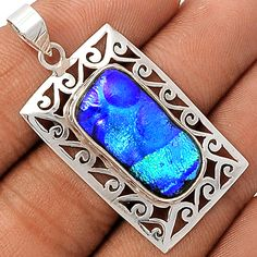 Dichoric Glass 925 Sterling Silver Pendant Jewelry DICP349