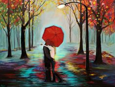 "Couple Art Print Couple Painting Couple Wall Art Decor Kissing Couple in Love Romantic Art Rain ""Loving You"" Leslie Allen Fine Art by LeslieAllenFineArt on Etsy"