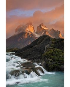 Sunrise on Los Cuernos | Cascades above Salto Grande | Patagonia Torres del Paine National Park Chile | Photo by Ian Plant