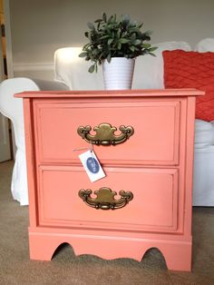 Yes, this color is called Coral Passion (by Valspar). I used it on this end table recently and loved the result. I especially love how when I distressed with a sanding sponge the paint turned more . Furniture Projects, Furniture Makeover, Home Projects, Diy Furniture, Coral Furniture, Girls Bedroom, Bedroom Decor, Bedrooms, Up House