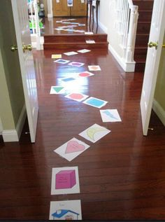 Pretending the floor is lava can be turned into a fun, educational game. Have them learn their shapes and colors along the lava path