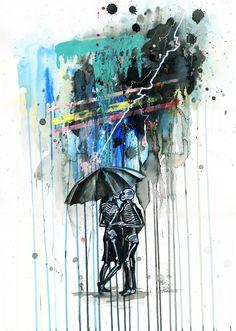 Couple, rain, umbrella, watercolor, Lora Zombie, http://lorazombie.com/index.php