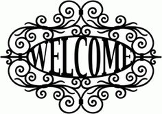welcome wrought iron sign
