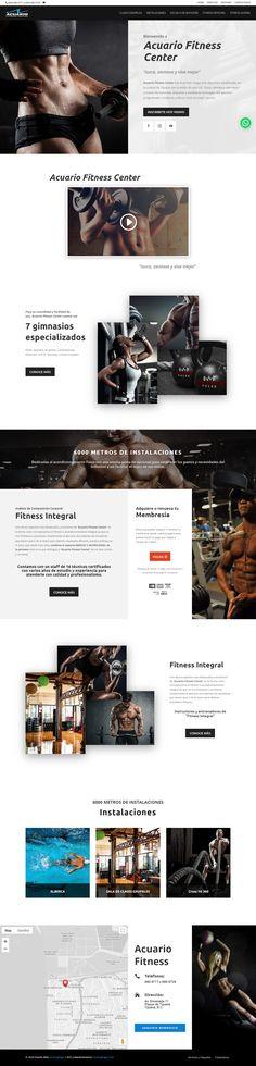 Diseño Web de Pagina - Acuario Fitness Center www.acuariofitness.com, proyecto desarrollado en el 2019 por HostingPage.Com Fitness, Shopping, Design Portfolio Layout, Aquarium, Design Web, Blue Prints