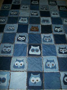 scrappy denim owl quilt.