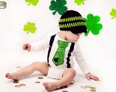 Items similar to Get the Set St. Patricks Day Boys Black and Green Tie Onesie or Shirt with Suspenders with Hat - Size NB to 12 Years - Or pick your own on Etsy