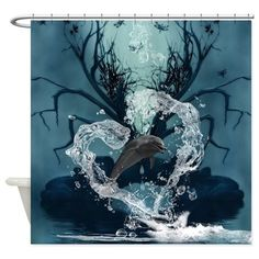 Dolphin jumpung by a heart made of water Shower Cu by nicky - CafePress Water Printing, Waterproof Liner, Water Art, Fabric Shower Curtains, From The Ground Up, Custom Fabric, Dolphins, Gallery Wall, Make It Yourself