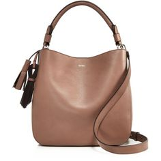 Max Mara Medium Leather Hobo (£719) ❤ liked on Polyvore featuring bags, handbags, shoulder bags, beige, beige purse, leather hobo shoulder bag, genuine leather purse, leather handbags and beige leather handbags