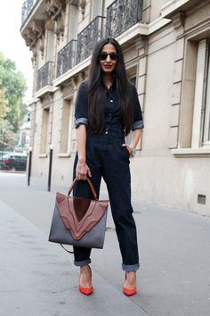A fitted denim all-in-one emenates a retro seventies appeal on the streets of Paris during #PFW WGSN street shot, Paris Fashion Week, spring/summer 2014
