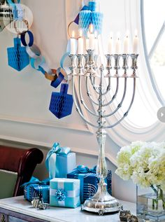 Interior: Hanukkah home decor Hanukkah Wrapping Ideas Style At Home Photo: Donna Griffith Styling: Jessica Waks Feliz Hanukkah, Hanukkah Crafts, Hanukkah Decorations, Christmas Hanukkah, Hannukah, Happy Hanukkah, Jewish Hanukkah, Hanukkah Menorah, Christmas Time